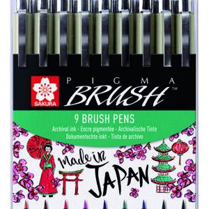 Pigma Brush Pen Wallet 9 assorted