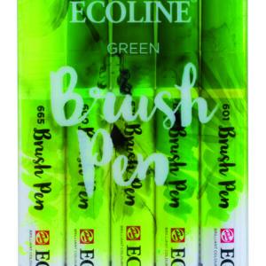 Ecoline Green Brush 5 Pen Set