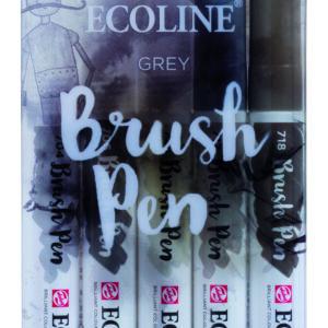 Ecoline Grey Brush 5 Pen Set