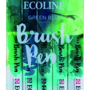 Ecoline Green Blue Brush 5 Pen Set